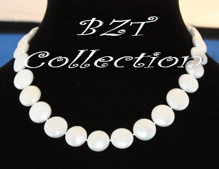 12.0-13.0 mm Coin White Freshwater Pearl Necklace (NH204-1)