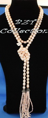 8.0-8.5 mm 60'' Peach Freshwater Pearl Necklace (NH031-1)