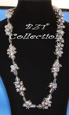 6.5-7.0 mm 28'' Black Pearl with Crystal Necklace (NH032-1)