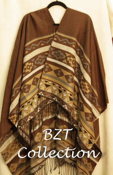 BL02-02 Open-Front Poncho - Brown